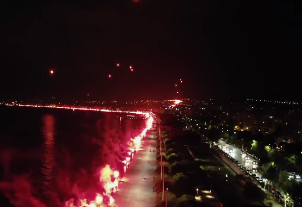 Το pyroshow των οπαδών του ΠΑΟΚ από ψηλά (VIDEO)