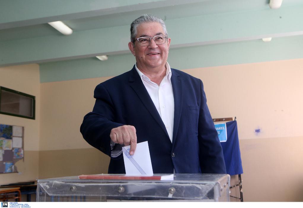 Στην Νέα Ιωνία ψήφισε ο Δημήτρης Κουτσούμπας
