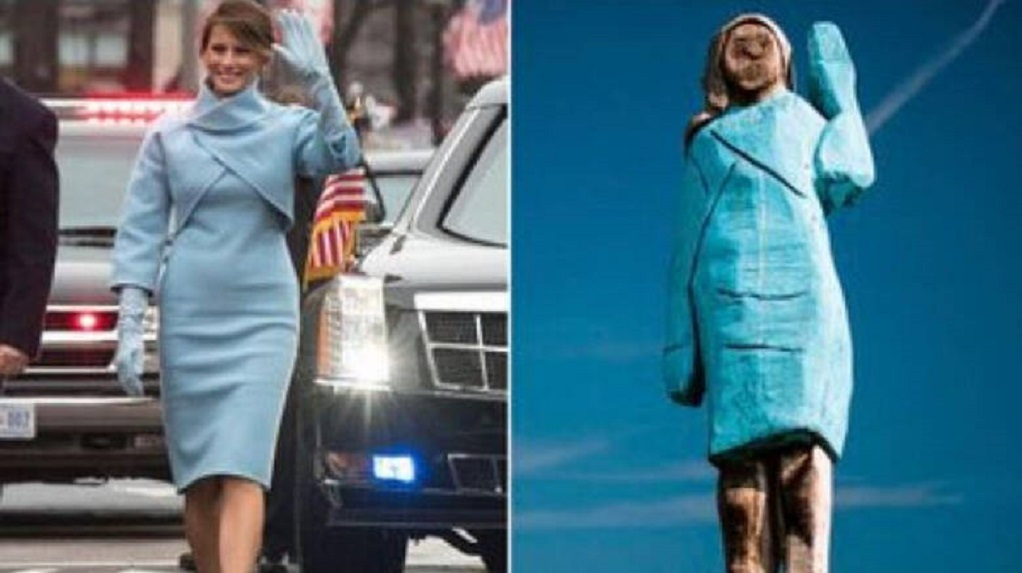Μελάνια ή… Στρουμφίτα; Το ξύλινο άγαλμα της Πρώτης Κυρίας διχάζει τα social media