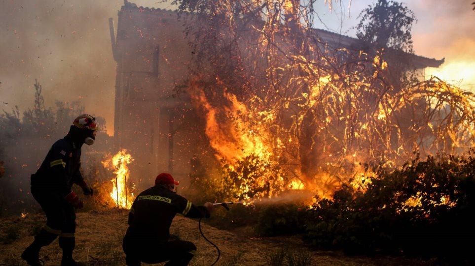 Το δύσκολο έργο των πυροσβεστών στα Ψαχνά Ευβοίας