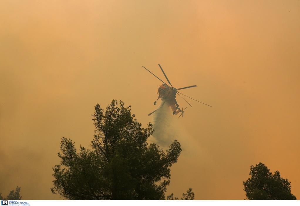 Χάθηκε ο ουρανός από τους καπνούς στη φωτιά της Εύβοιας – Συγκλονιστικές φωτογραφίες