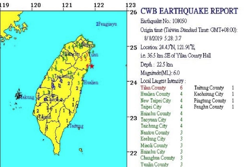 Μία νεκρή από τον ισχυρό σεισμό στην Ταϊβάν