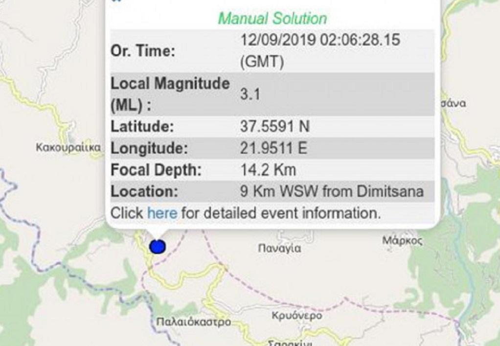Δημητσάνα: Σεισμός 3,1 Ρίχτερ