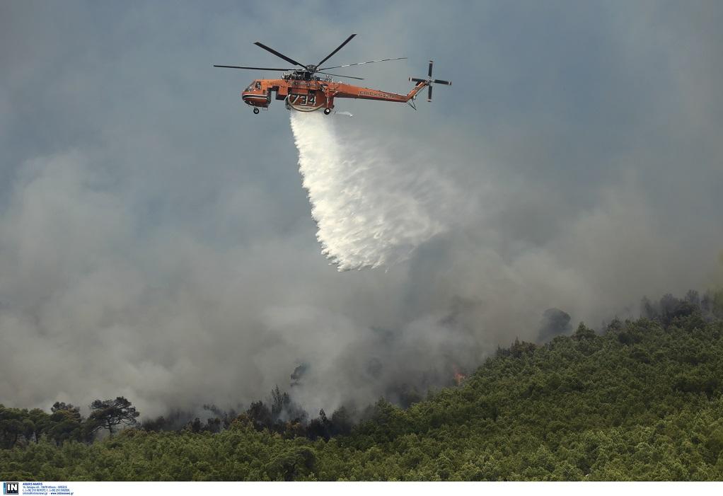 Προβληματίζουν οι αναζωπυρώσεις και οι ισχυροί άνεμοι στο Λουτράκι (ΦΩΤΟ)