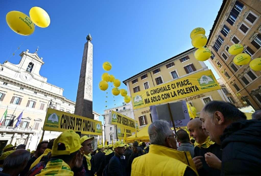 Ιταλία: Στους δρόμους οι αγρότες, διαμαρτυρόμενοι για τα αγριογούρουνα