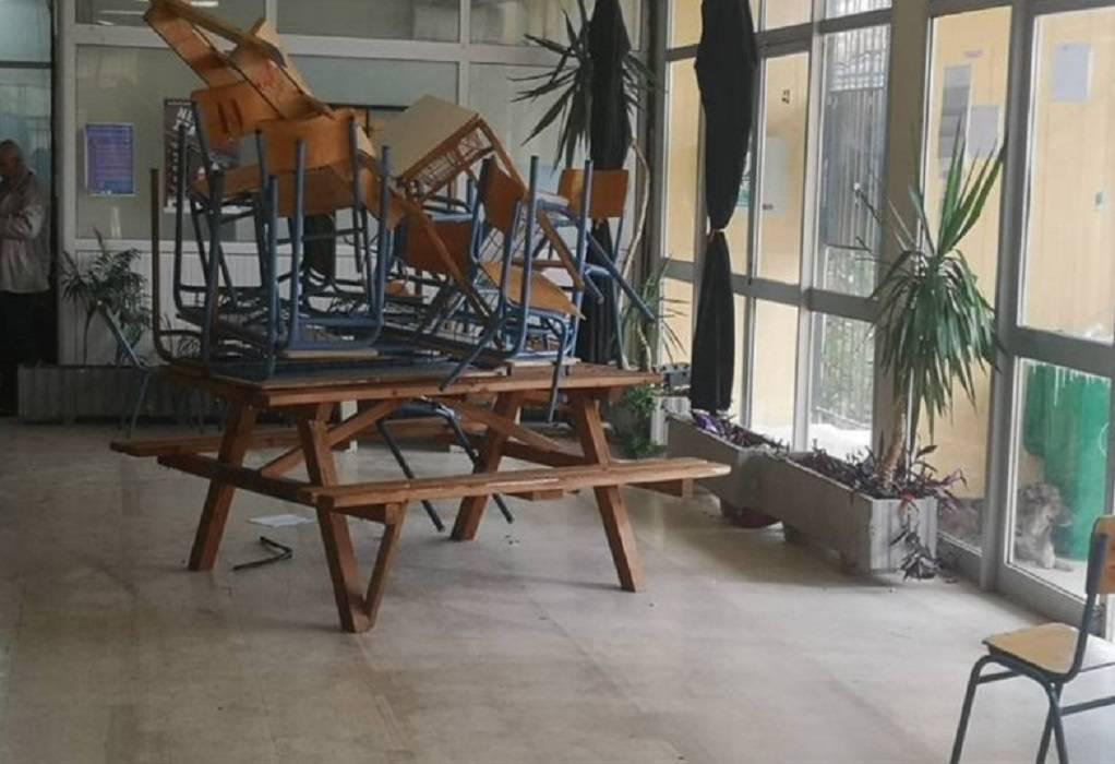Εικόνες καταστροφής στο ΕΠΑΛ Ν. Μουδανιών (ΦΩΤΟ)