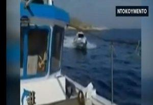 Ίμια: Τούρκικο σκάφος παρενοχλεί Έλληνες ψαράδες (VIDEO)