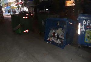 Θεσ/νικη: Αναποδογύρισαν κάδους σκουπιδιών