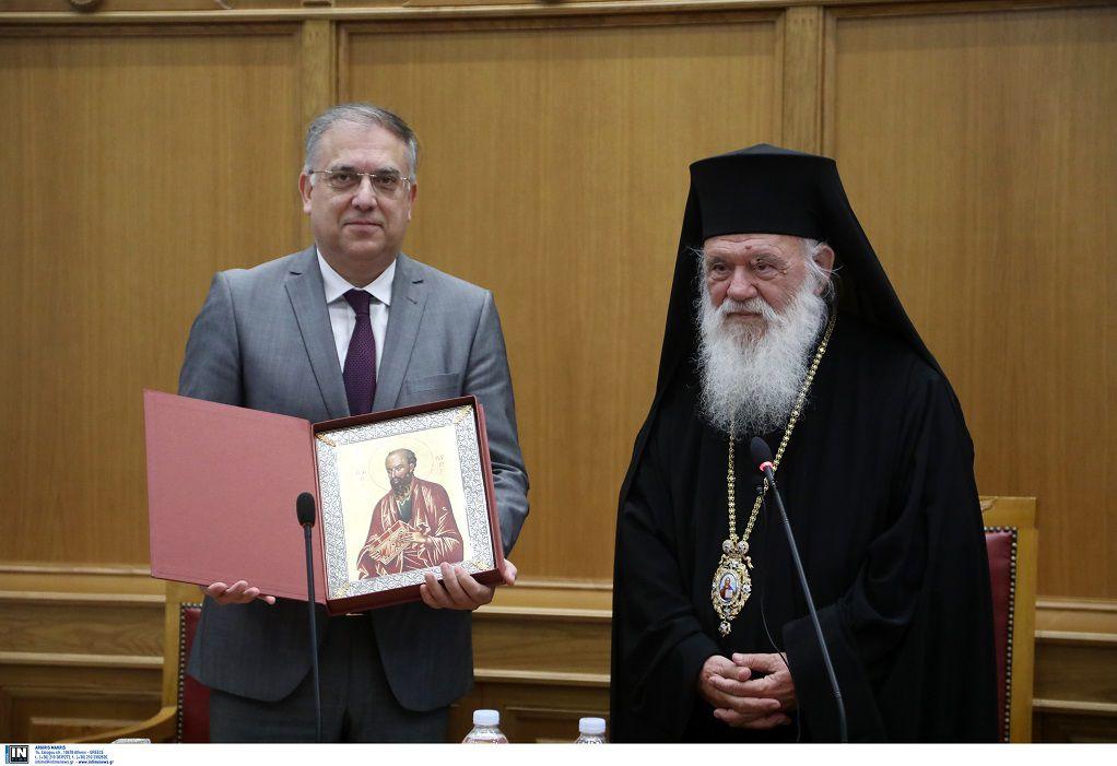 Συνάντηση Αρχιεπισκόπου Ιερώνυμου με τον Τ. Θεοδωρικάκο