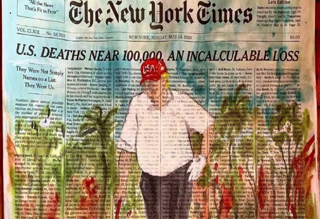 Ζωγράφισαν τον Τραμπ να παίζει γκολφ με τα ονόματα νεκρών από κορωνοϊό