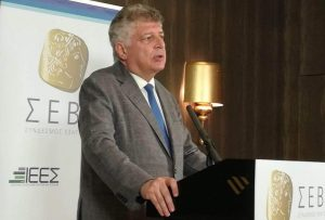 Ο Κ. Μητσοτάκης και ο Μ. Σχοινάς στη γενική συνέλευση του ΣΕΒΕ