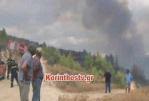 Μεγάλη φωτιά στο Ελληνοχώρι Κορινθίας