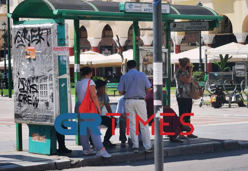 Θεσσαλονίκη: Πρόστιμο για μη χρήση μάσκας σε στάση λεωφορείου (ΦΩΤΟ)