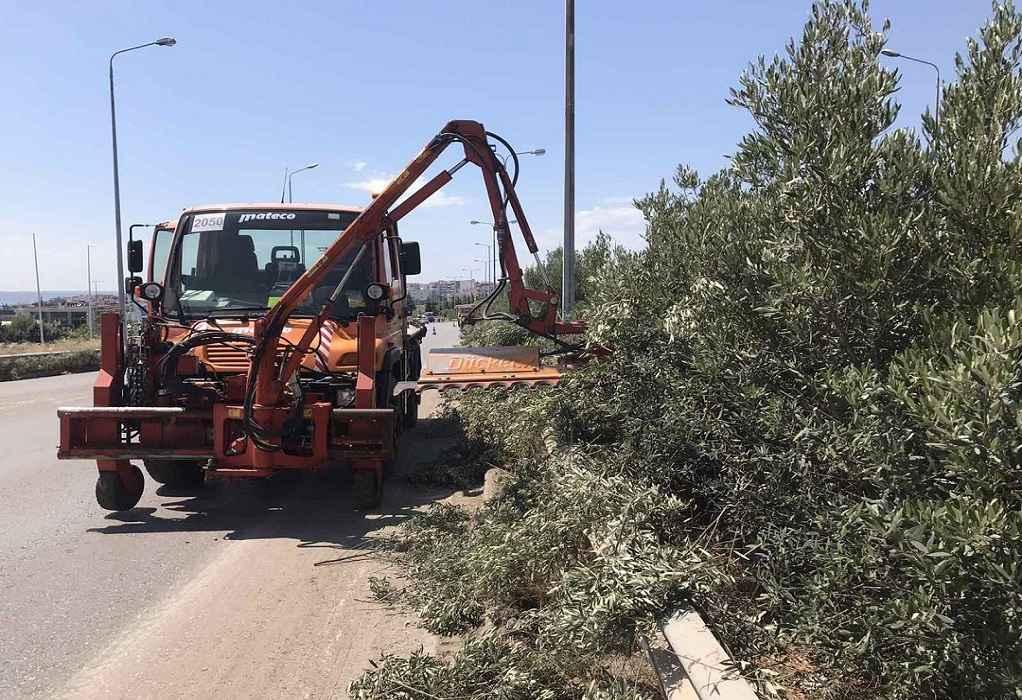 Εργασίες κοπής πρασίνου σήμερα στην Εθνική Οδό 2 Θεσσαλονίκης- Έδεσσας