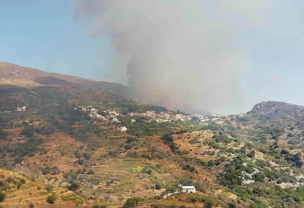 Φωτιά στη Νάξο: Ενισχύθηκαν οι δυνάμεις της πυροσβεστικής (VIDEO)