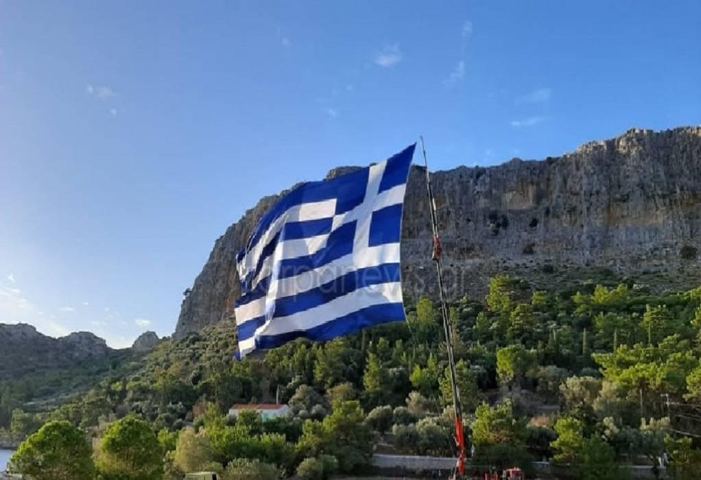 Στο Καστελλόριζο η μεγαλύτερη ελληνική σημαία