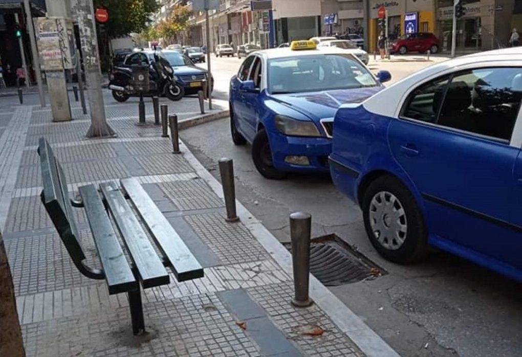 Θεσσαλονίκη: Βάζουν παγκάκια στις πιάτσες οι οδηγοί ταξί