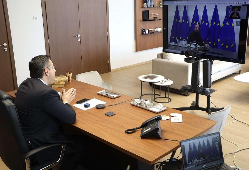 Τηλεδιάσκεψη Α. Τζιτζικώστα με τον Σαρλ Μισέλ (ΦΩΤΟ)