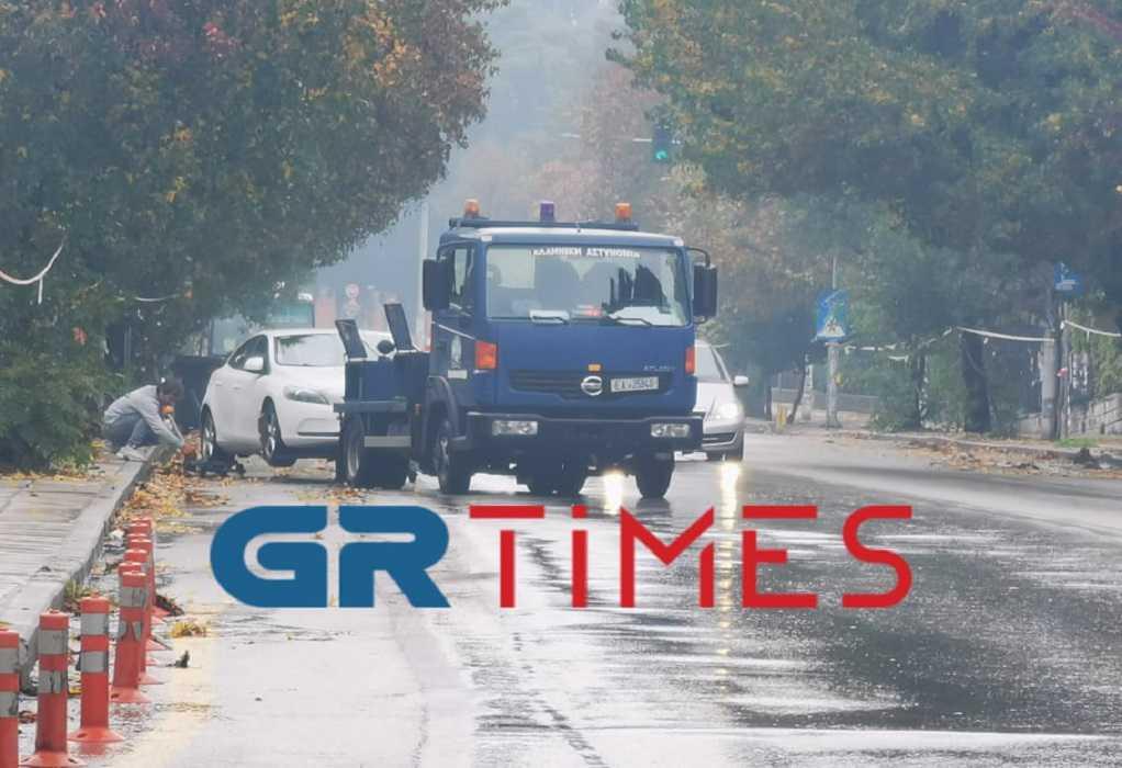 Θεσσαλονίκη – Επέτειος Γρηγορόπουλου: Γερανός της Τροχαίας σηκώνει ΙΧ (ΦΩΤΟ)