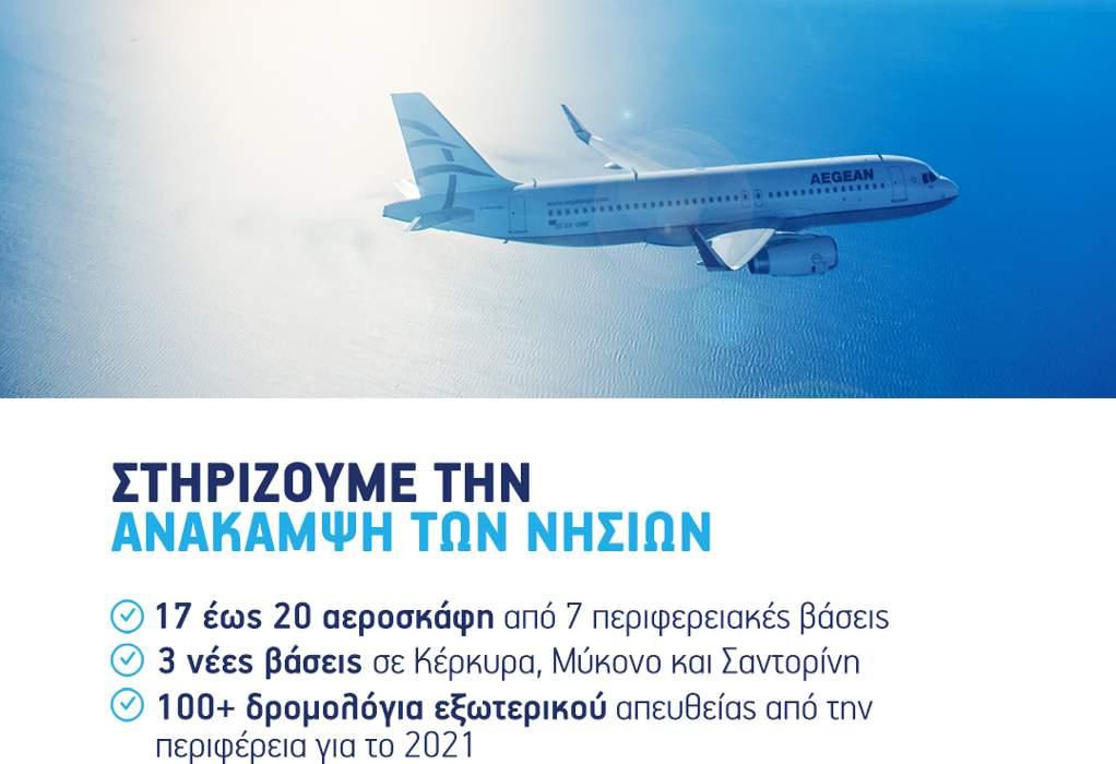 Aegean: Πάνω από 100 δρομολόγια εξωτερικού από 7 περιφερειακά hubs