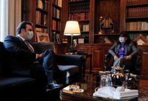 Με τον Κυριάκο Πιερρακάκη συναντήθηκε η Πρόεδρος της Δημοκρατίας