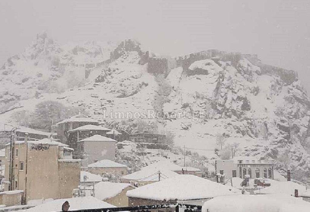 Κακοκαιρία «Λέανδρος»: Και στη Λήμνο χιόνια