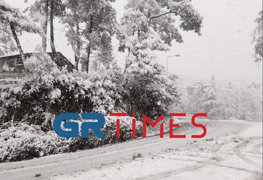 Καιρός – Θάσος: Σφοδρή χιονόπτωση – Στα λευκά όλο το νησί (pics, vid)