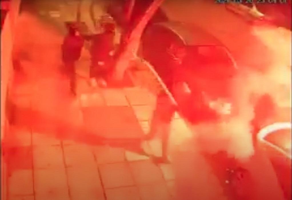 Καρέ καρέ η σύγκρουση οπαδών του ΆΡΗ και του ΠΑΟΚ (VIDEO)
