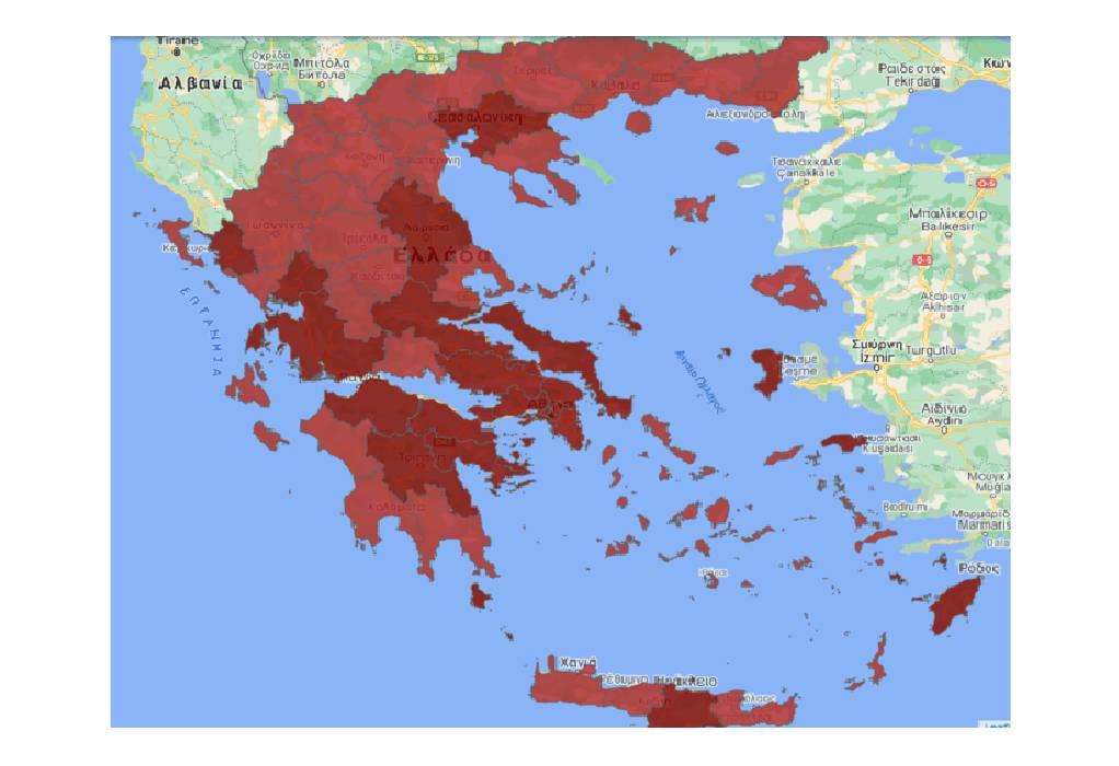 Β. Ελλάδα: Οι Covid-Free περιοχές που βάφτηκαν σε μια νύχτα «κόκκινες»