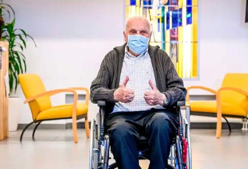"""""""Έφυγε"""" στα 97 του ο πρώτος Βέλγος που εμβολιάστηκε κατά της Covid-19"""