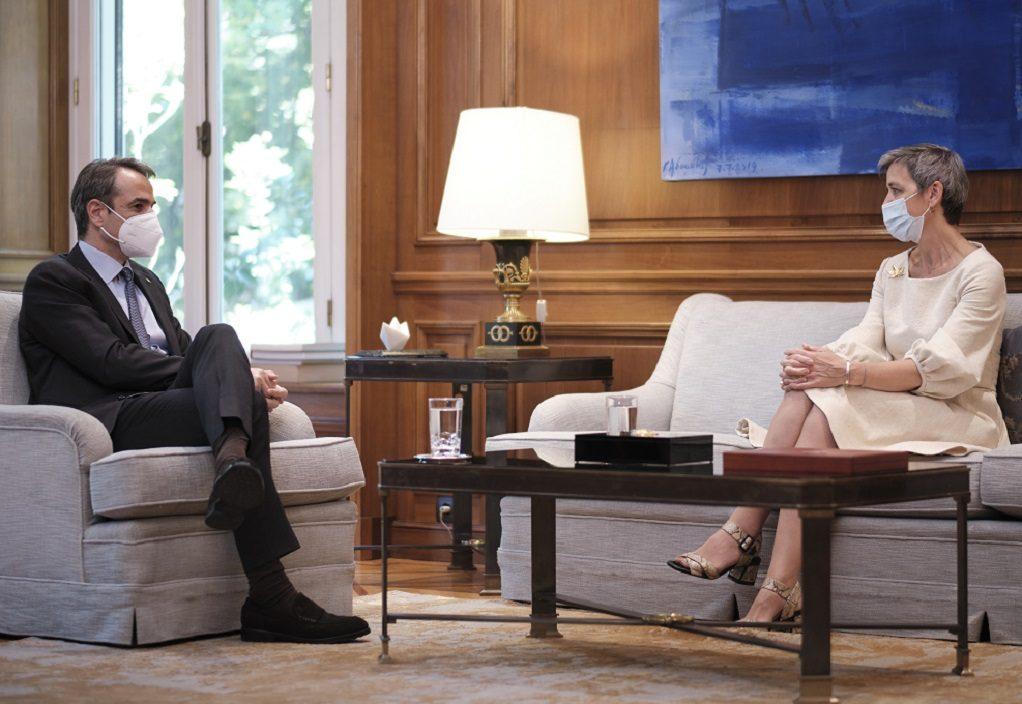 Συνάντηση του Πρωθυπουργού Κυριάκου Μητσοτάκη με την Margrethe Vestager, Εκτελεστική Αντιπρόεδρο της Ευρωπαϊκής Επιτροπής
