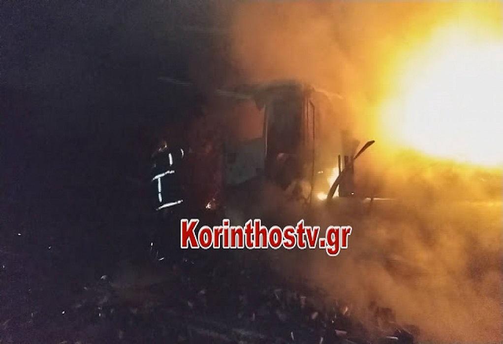 Φωτιά σε κινούμενη νταλίκα στην ΠΕΟ Αθηνών – Κορίνθου (ΒΙΝΤΕΟ)