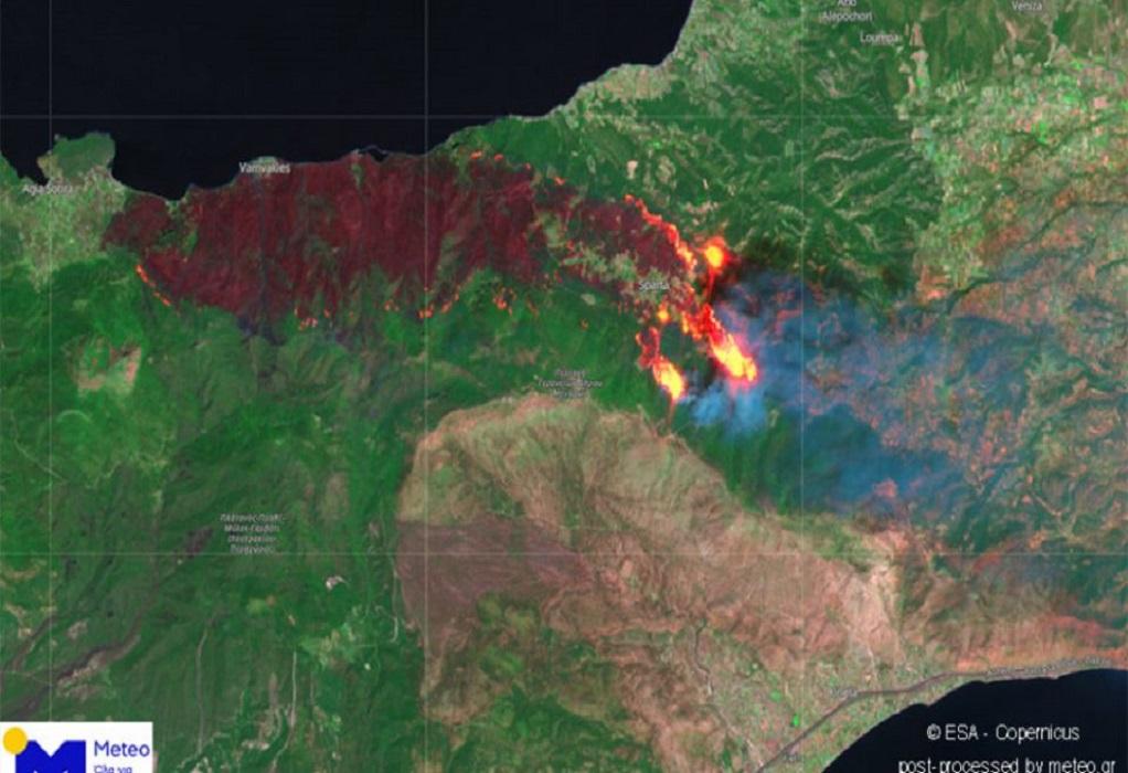 Φωτιά στην Κορινθία: Ευρωπαϊκός δορυφόρος αποτύπωσε την καταστροφή