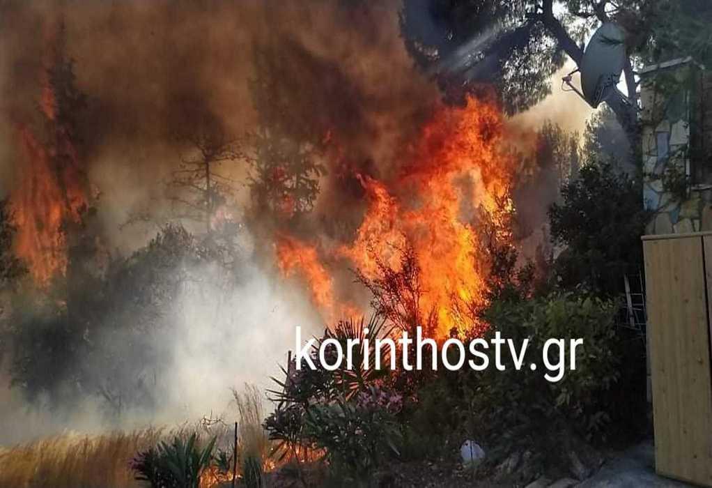 Μεγάλη φωτιά στα Ίσθμια Κορινθίας (ΦΩΤΟ-VIDEO)