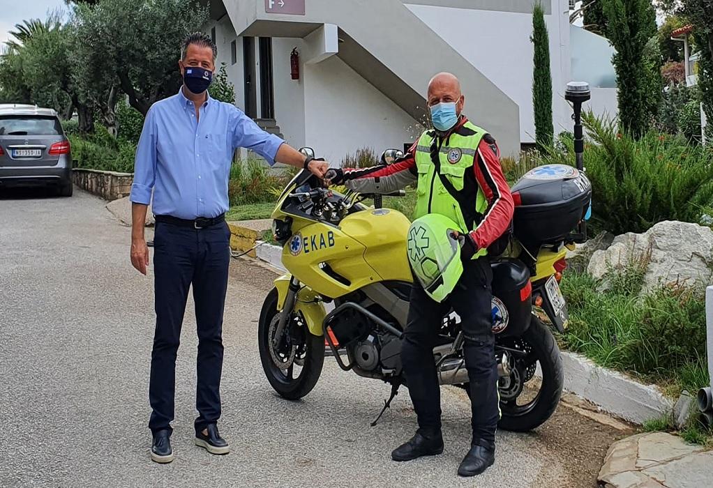 Χαλκιδική: Ο μοτοσυκλετιστής του ΕΚΑΒ που μπορεί να επέμβει κάθε στιγμή