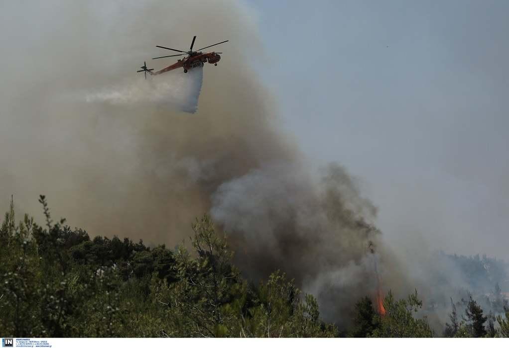 Ηράκλειο: Φωτιά μεταξύ δύο χωριών – Σηκώθηκε ελικόπτερο