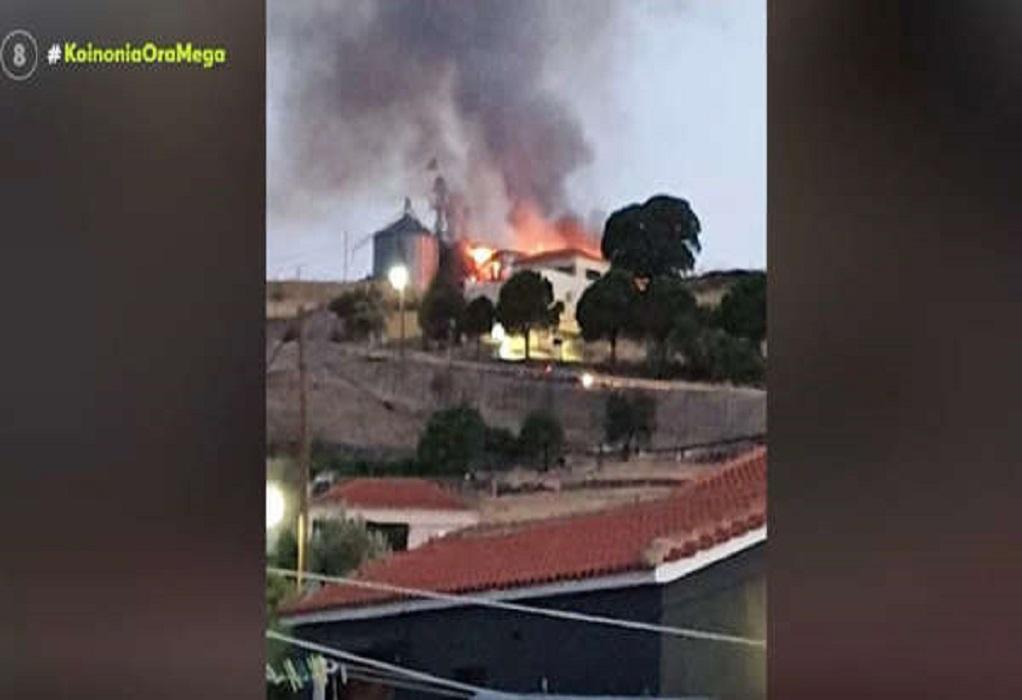 Φωτιά κατέστρεψε τμήμα του Συνεταιρισμού Μεσοτόπου Λέσβου (VIDEO)