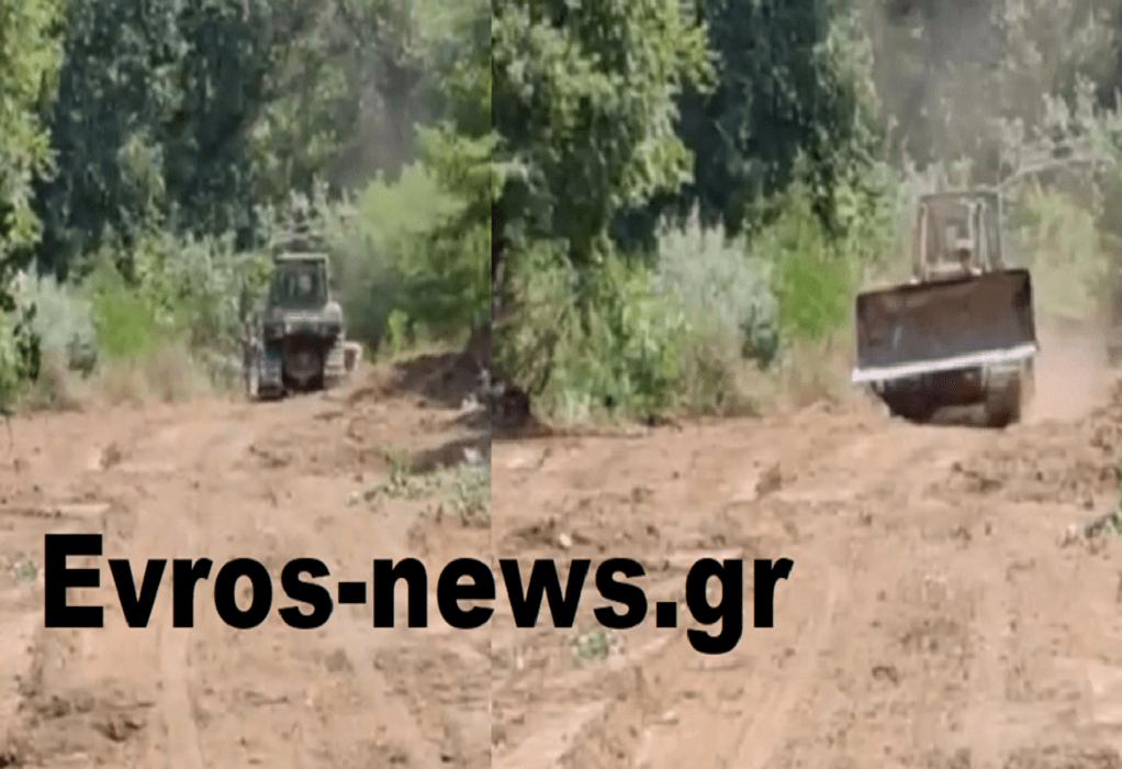 """""""Οχυρώνεται"""" ο Έβρος: Ο Στρατός στα αναχώματα από το Ορμένιο μέχρι τις Καστανιές (VIDEO)"""