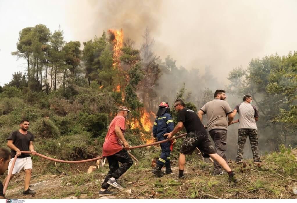 Φωτιά στην Εύβοια: Οι φλόγες έχουν μπει στα Βασιλικά-Σε ετοιμότητα το Πολεμικό Ναυτικό