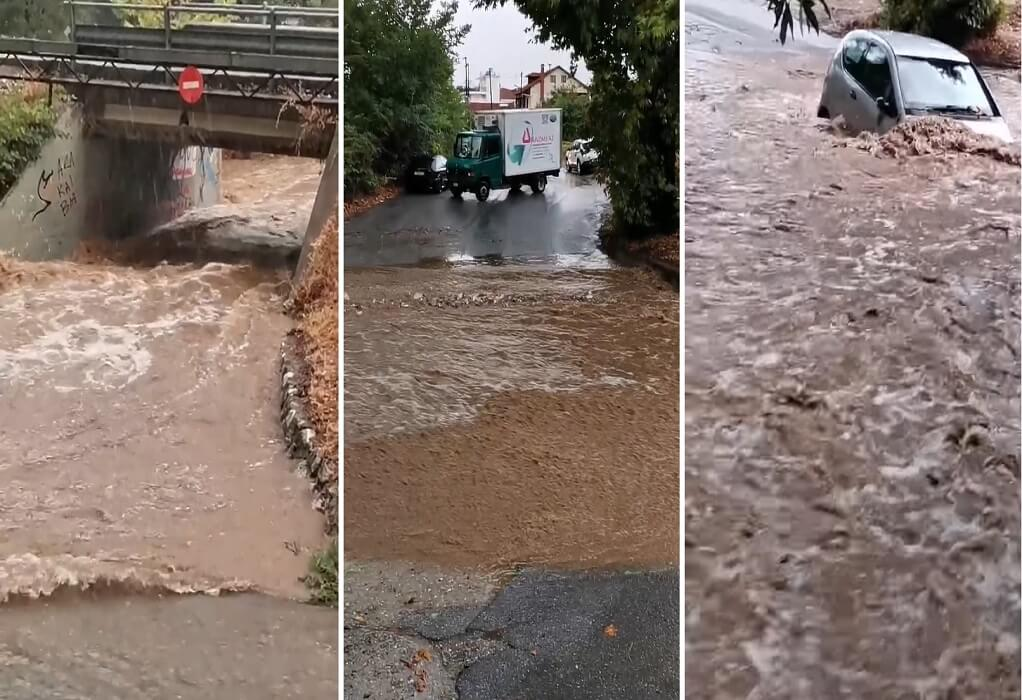 Πλαταμώνας: Παρασύρθηκαν αυτοκίνητα από τη σφοδρή βροχόπτωση