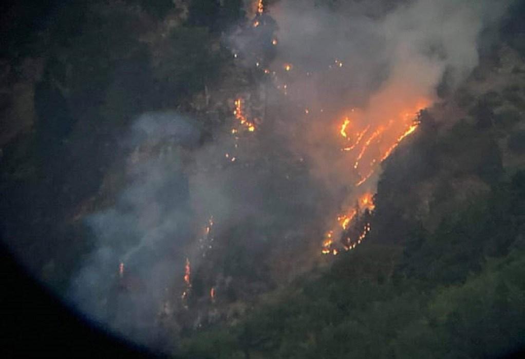 Τρίκαλα: Ελικόπτερο επιχειρεί σε πυρκαγιά στα Στουρναρέικα του δήμου Πύλης