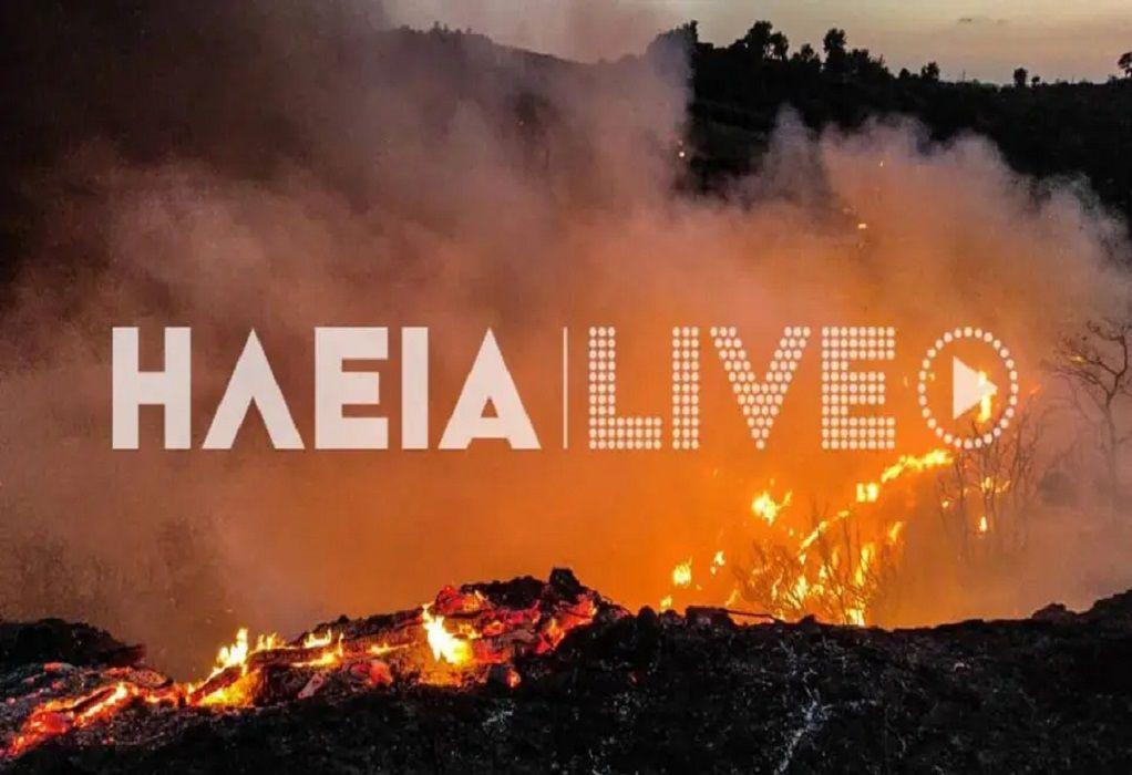 Μαίνεται η φωτιά στην Ηλεία – Δεν απειλούνται οικισμοί (VIDEO)