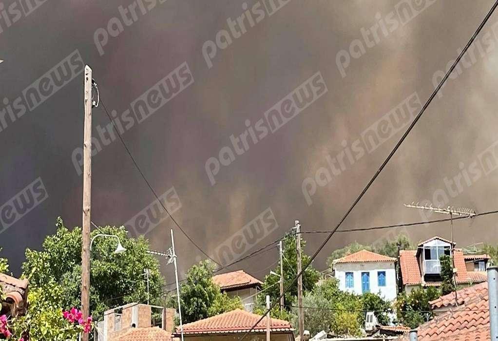 Φωτιά Ηλεία: Μήνυμα του 112 για εκκένωση των οικισμών Βίλλια, Τσαπαρέικα και Νεμούτα