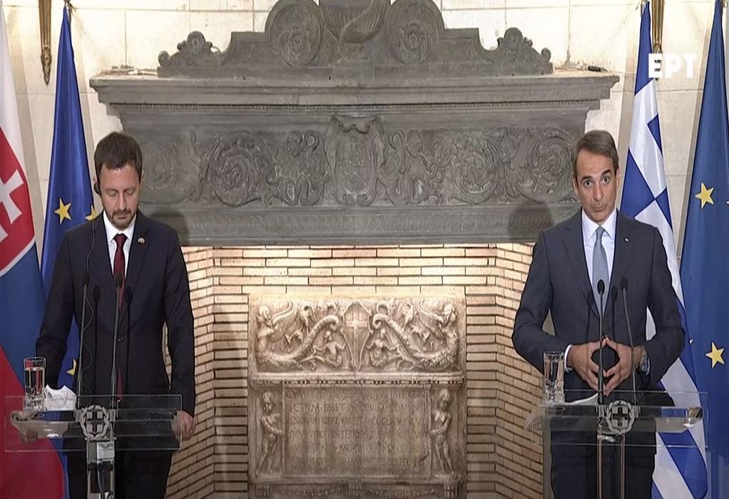 Δείτε LIVE τις κοινές δηλώσεις του Μητσοτάκη με τον πρωθυπουργό της Σλοβακίας Eduard Heger