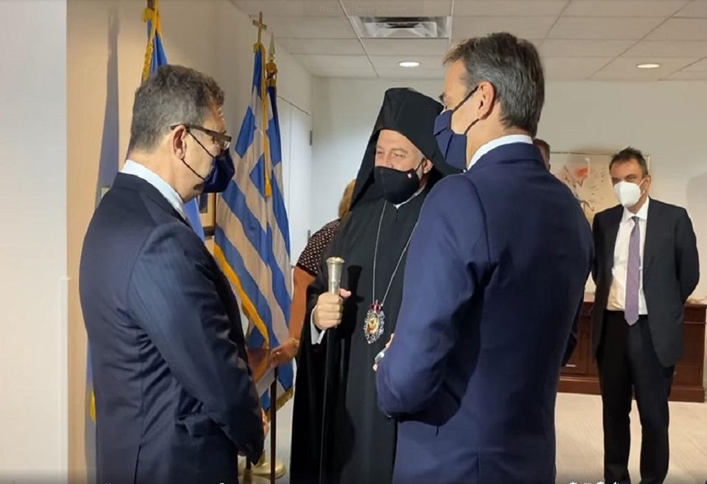 Συνάντηση του πρωθυπουργού με τον Αρχιεπίσκοπο Αμερικής Ελπιδοφόρο (ΦΩΤΟ-VIDEO)