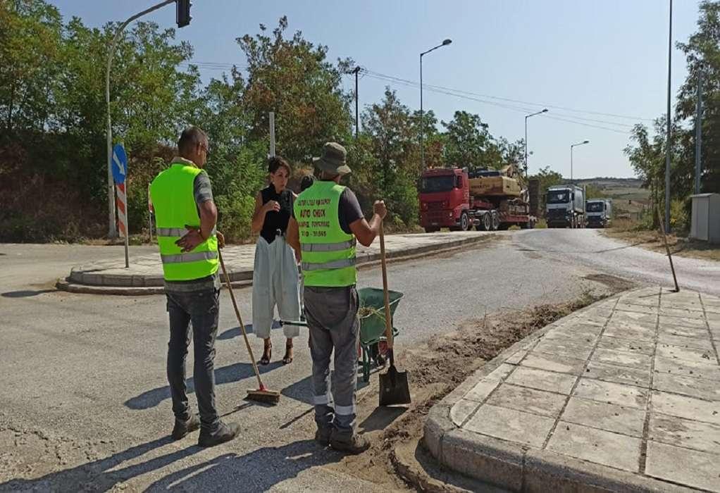 Αυτοψία της Β. Πατουλίδου στις εργασίες στην παλαιά Εθνική Οδό Θεσσαλονίκης-Σερρών (ΦΩΤΟ)