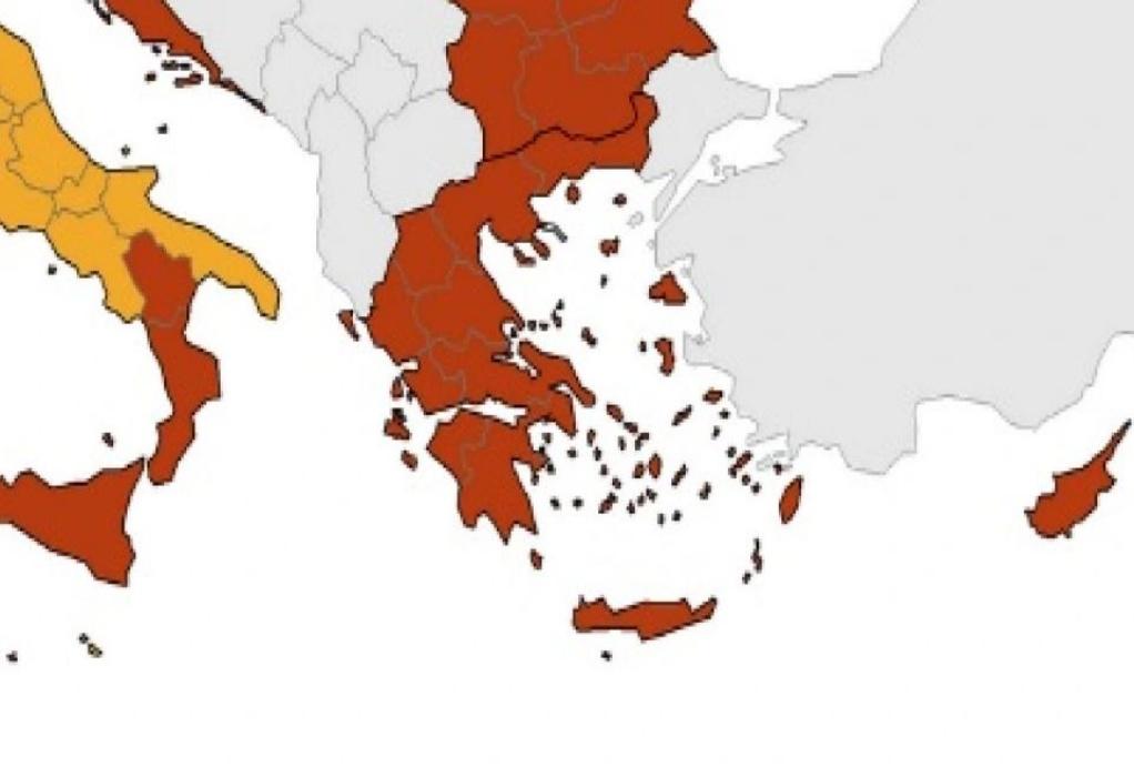Χάρτης ECDC: Μικρή βελτίωση στην Ελλάδα – Στο «πορτοκαλί» όλη η χώρα
