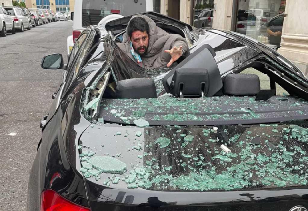 Πήδηξε από τον 9ο όροφο προσγειώθηκε πάνω σε αυτοκίνητο και σώθηκε (VIDEO)