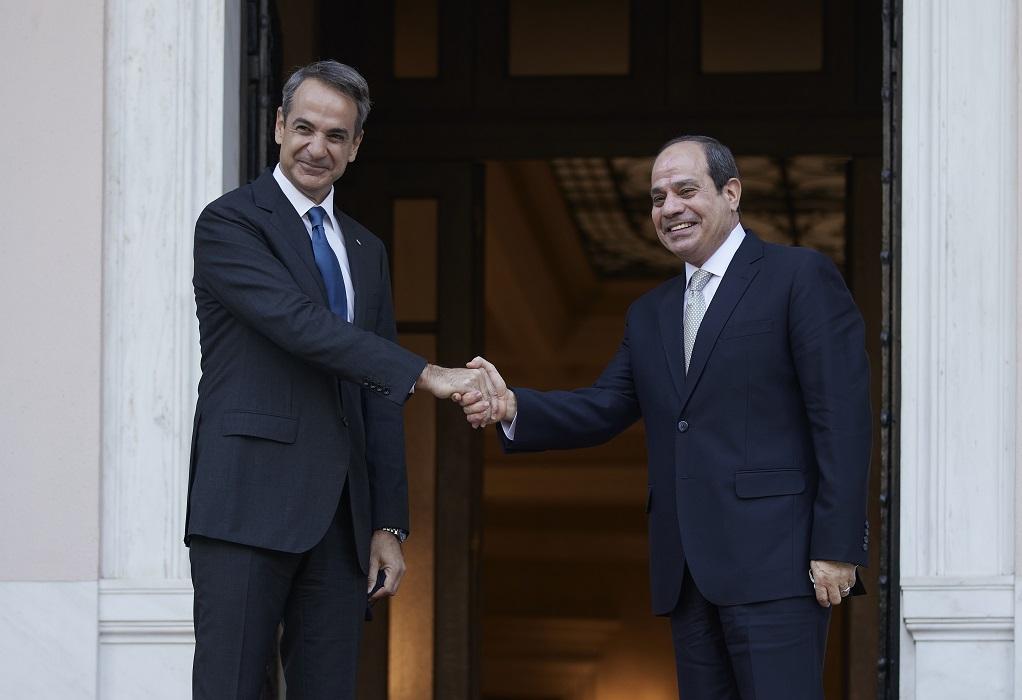 Συνάντηση του πρωθυπουργού με τον Πρόεδρο της Αιγύπτου στο Μέγαρο Μαξίμου