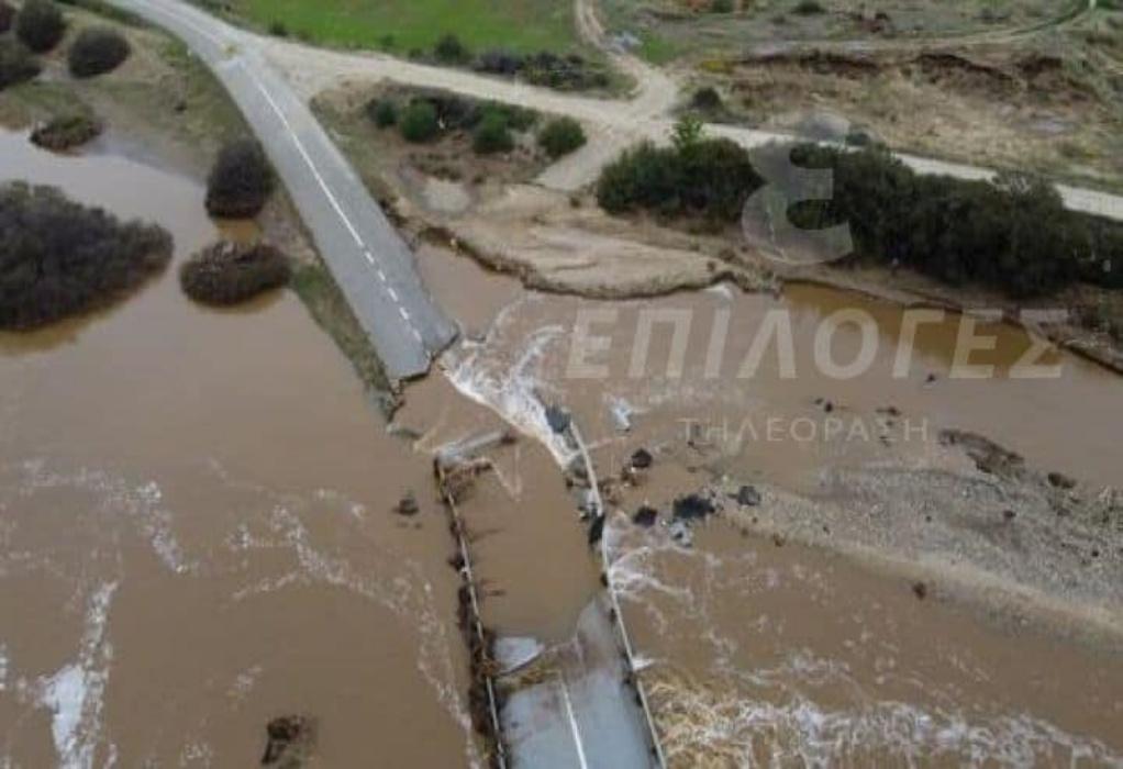 Σέρρες: Πλημμύρα στην Βέργη – Κόπηκε ο δρόμος στα δύο (ΦΩΤΟ)